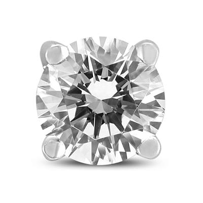 1/2 Carat Round Single Stud Diamond Earring in 14K White Gold