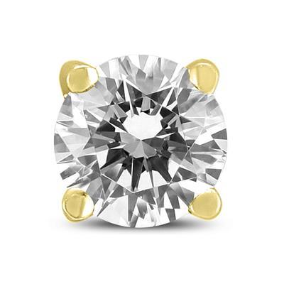 3/8 Carat Round Single Stud Diamond Earring in 14K Yellow Gold