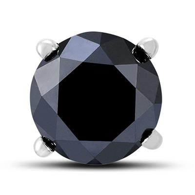 1 Carat Round Single Solitaire Black Diamond Stud Earring in 10K White Gold