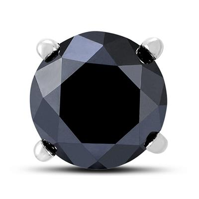 1 1/2 Carat Round Single Solitaire Black Diamond Stud Earring in 10K White Gold