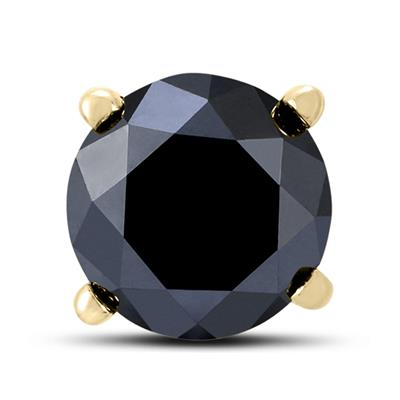 1/2 Carat Round Single Solitaire Black Diamond Stud Earring in 10K Yellow Gold