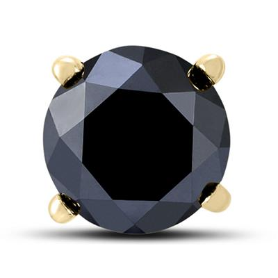 1 Carat Round Single Solitaire Black Diamond Stud Earring in 10K Yellow Gold