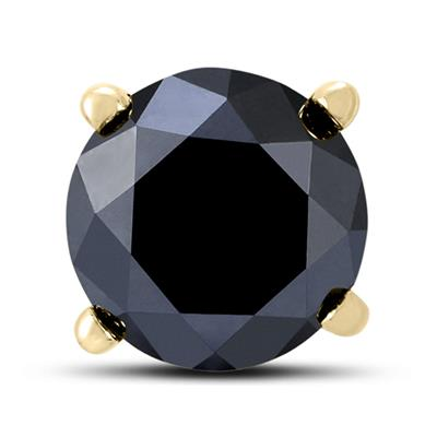 1 1/2 Carat Round Single Solitaire Black Diamond Stud Earring in 10K Yellow Gold