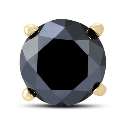 2 Carat Round Single Solitaire Black Diamond Stud Earring in 10K Yellow Gold