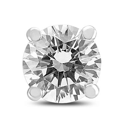 AGS Certified 1 Carat Round Single Stud Diamond Earring in 14K White Gold