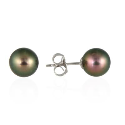 7-8.0MM Natural Freshwater Black Pearl Stud Earring in 14K Gold