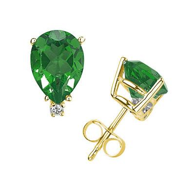 6X4mm Pear Emerald and Diamond Stud Earrings in 14K Yellow Gold