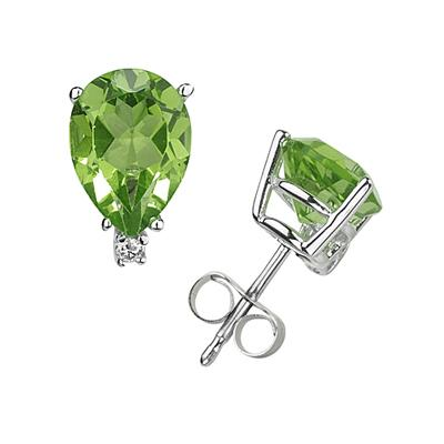 9X7mm Pear Peridot and Diamond Stud Earrings in 14K White Gold