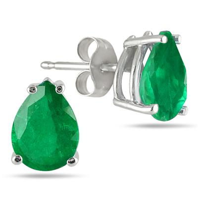 All-Natural Genuine 6x4 mm, Pear Shape Emerald earrings set in 14k White Gold