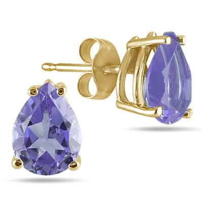 All-Natural Genuine 6x4 mm, Pear Shape Tanzanite earrings set in 14k Yellow gold