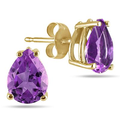 All-Natural Genuine 7x5 mm, Pear Shape Amethyst earrings set in 14k Yellow gold