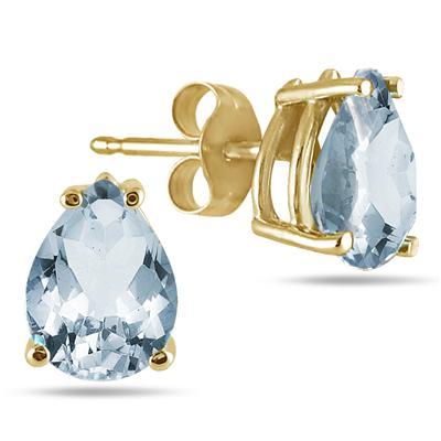 All-Natural Genuine 7x5 mm, Pear Shape Aquamarine earrings set in 14k Yellow gold