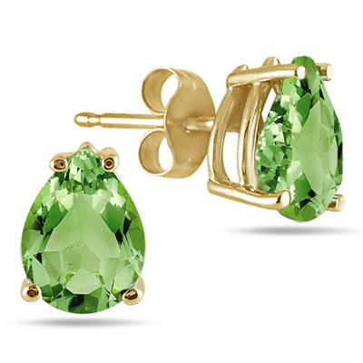 All-Natural Genuine 7x5 mm, Pear Shape Peridot earrings set in 14k Yellow gold