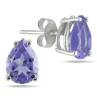 7x5MM All Natural Pear Tanzanite Stud Earrings in .925 Sterling Silver