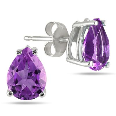 8x6MM All Natural Pear Amethyst Stud Earrings in .925 Sterling Silver