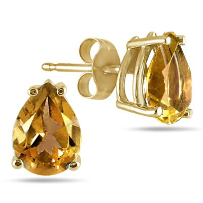 All-Natural Genuine 8x6 mm, Pear Shape Citrine earrings set in 14k Yellow gold
