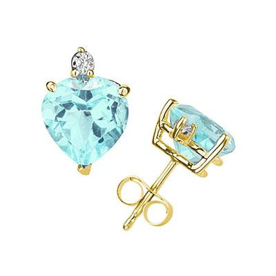 9mm Heart Aquamarine and Diamond Stud Earrings in 14K Yellow Gold