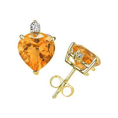 5mm Heart Citrine and Diamond Stud Earrings in 14K Yellow Gold