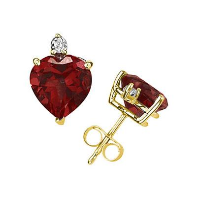 5mm Heart Garnet and Diamond Stud Earrings in 14K Yellow Gold