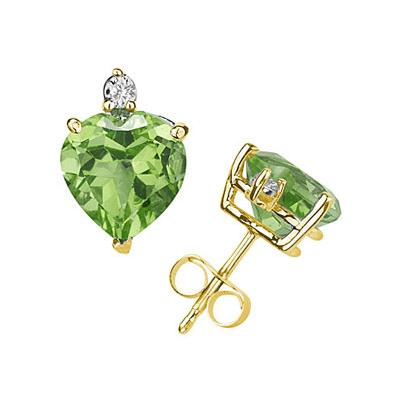 9mm Heart Peridot and Diamond Stud Earrings in 14K Yellow Gold