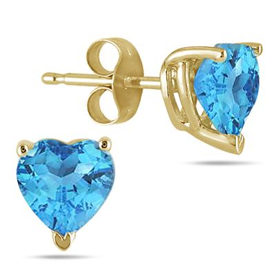 All-Natural Genuine 7 mm, Heart Shape Blue Topaz earrings set in 14k Yellow gold