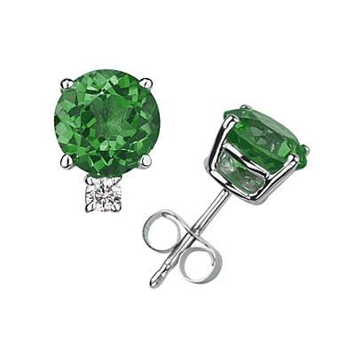 5mm Round Emerald and Diamond Stud Earrings in 14K White Gold