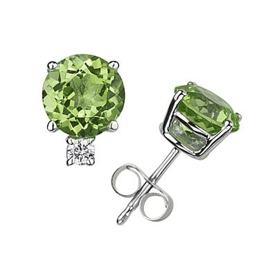 7mm Round Peridot and Diamond Stud Earrings in 14K White Gold