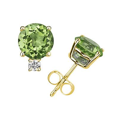 7mm Round Peridot and Diamond Stud Earrings in 14K Yellow Gold
