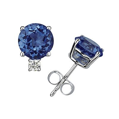 4mm Round Sapphire and Diamond Stud Earrings in 14K White Gold