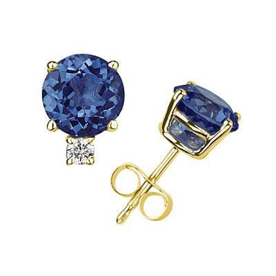 4mm Round Sapphire and Diamond Stud Earrings in 14K Yellow Gold