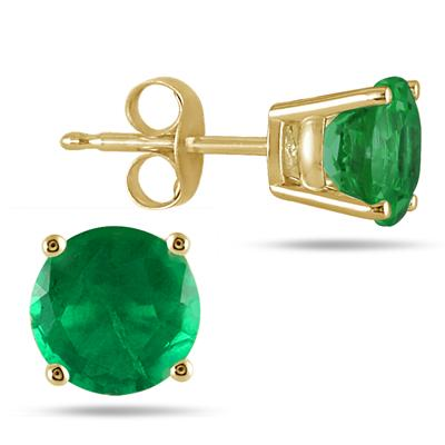 All-Natural Genuine 5 mm, Round Emerald earrings set in 14k Yellow gold