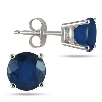 All-Natural Genuine 5 mm, Round Sapphire earrings set in 14k White Gold