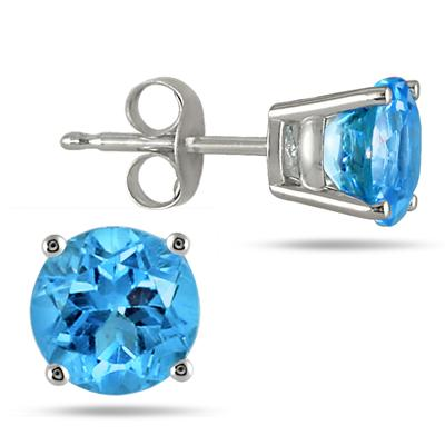 All-Natural Genuine 6 mm, Round Blue Topaz earrings set in 14k White Gold