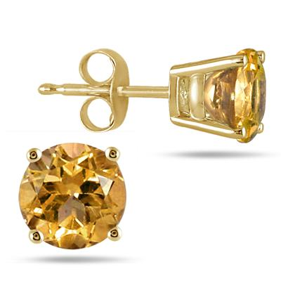 All-Natural Genuine 6 mm, Round Citrine earrings set in 14k Yellow gold