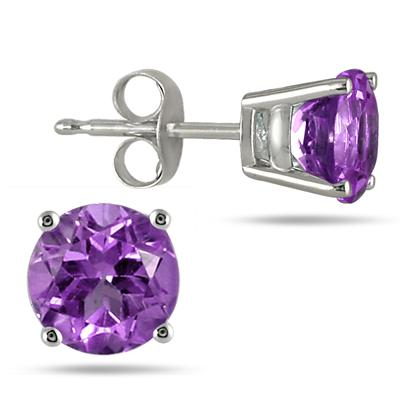 All-Natural Genuine 7 mm, Round Amethyst earrings set in 14k White Gold