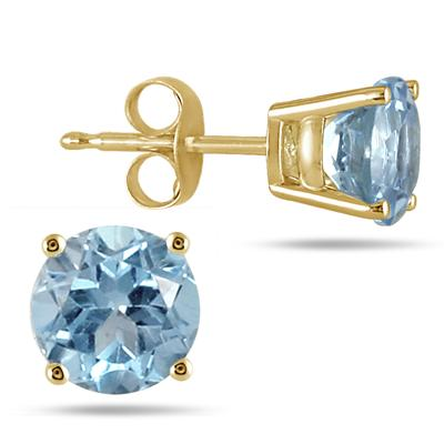 All-Natural Genuine 7 mm, Round Aquamarine earrings set in 14k Yellow gold