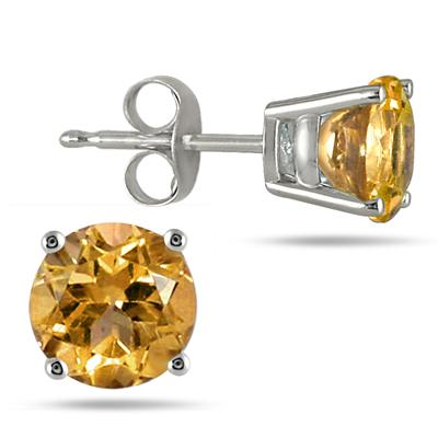 All-Natural Genuine 7 mm, Round Citrine earrings set in 14k White Gold