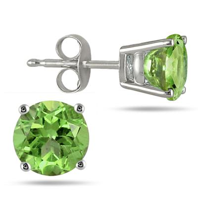 All-Natural Genuine 7 mm, Round Peridot earrings set in 14k White Gold