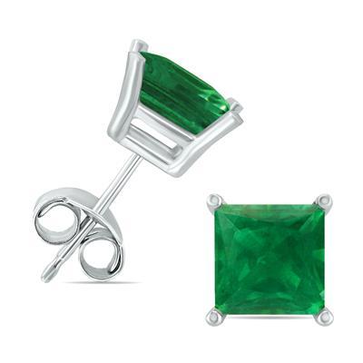 14K White Gold 4MM Square Emerald Earrings