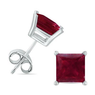14K White Gold 5MM Square Ruby Earrings