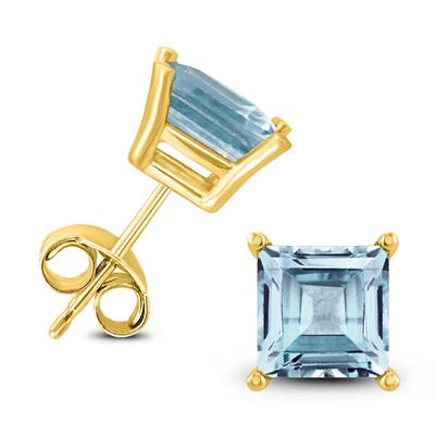 14K Yellow Gold 5MM Square Aquamarine Earrings