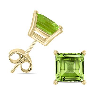 14K Yellow Gold 5MM Square Peridot Earrings