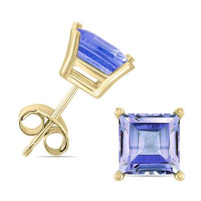 14K Yellow Gold 5MM Square Tanzanite Earrings