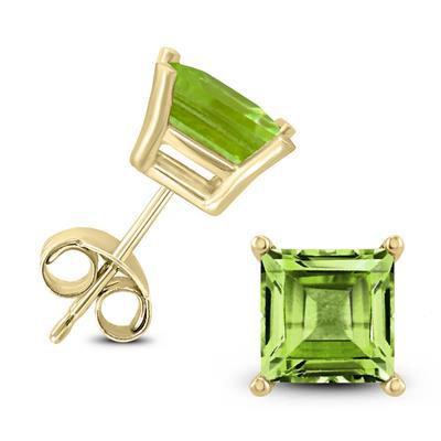 14K Yellow Gold 7MM Square Peridot Earrings