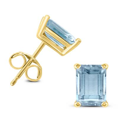 14K Yellow Gold 5x3MM Emerald Shaped Aquamarine Earrings