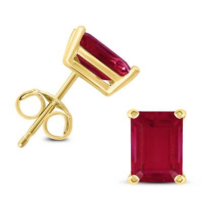 14K Yellow Gold 5x3MM Emerald Shaped Ruby Earrings
