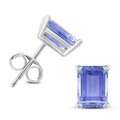 14K White Gold 6x4MM Emerald Shaped Tanzanite Earrings