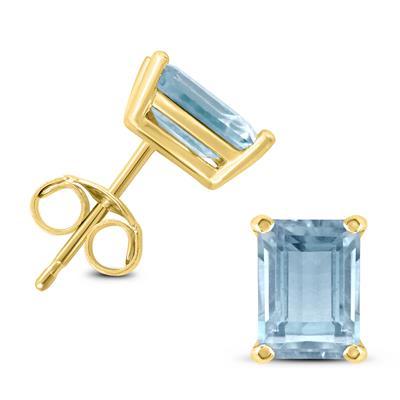 14K Yellow Gold 6x4MM Emerald Shaped Aquamarine Earrings