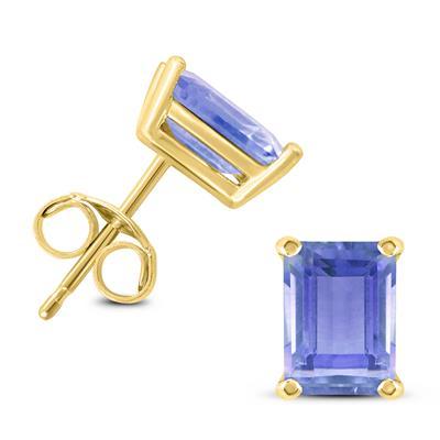 14K Yellow Gold 6x4MM Emerald Shaped Tanzanite Earrings