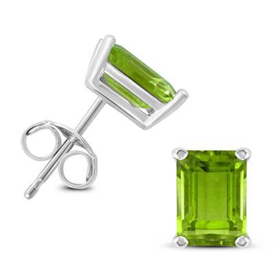 14K White Gold 7x5MM Emerald Shaped Peridot Earrings